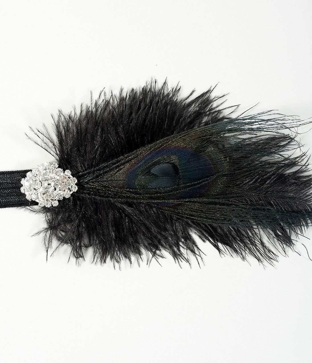Vintage Hair Accessories: Combs, Headbands, Flowers, Scarf, Wigs 1920s Style Black Peacock Feather Crystal Ava Headband $32.00 AT vintagedancer.com