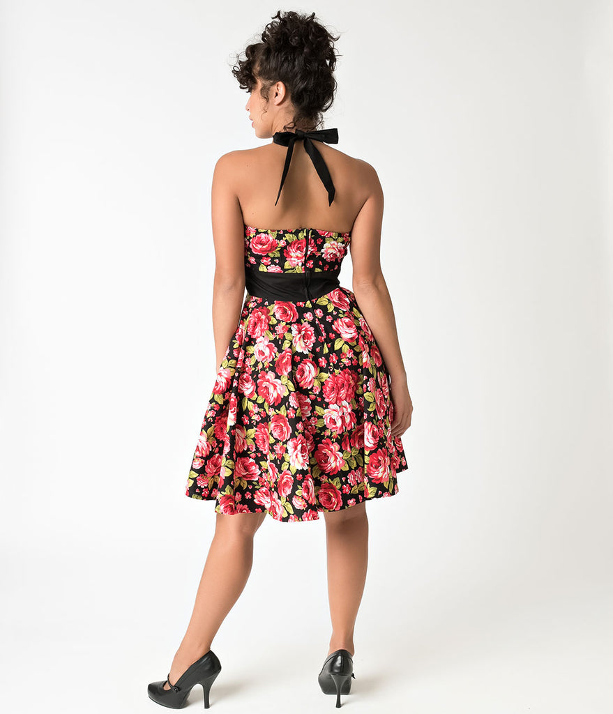 1950s Style Black & Red Poppy Print Halter Ashley Swing Dress