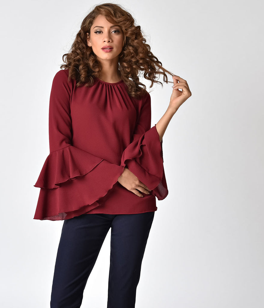 1970s Style Red Wine Ruffle Long Sleeve Blouse
