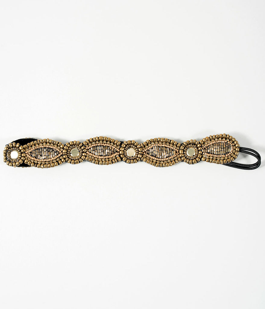 Deco Style Antique Gold Beaded Stretch Headband