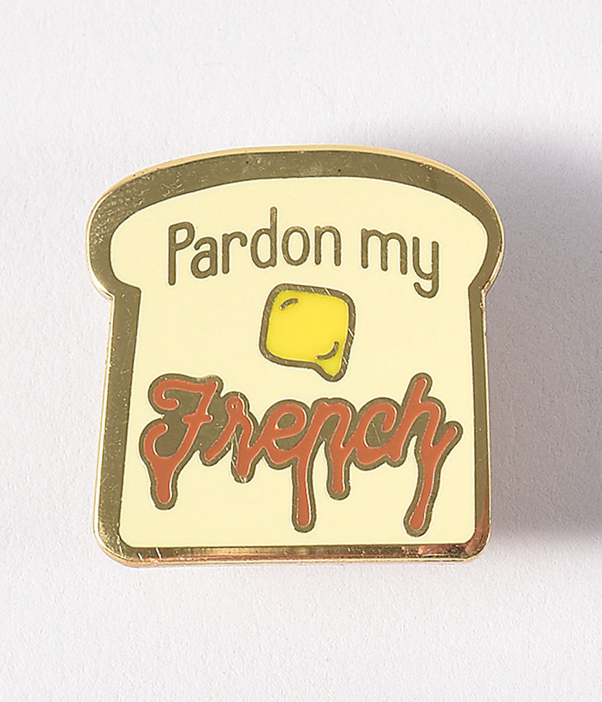 Light Yellow Pardon My French Enamel Pin