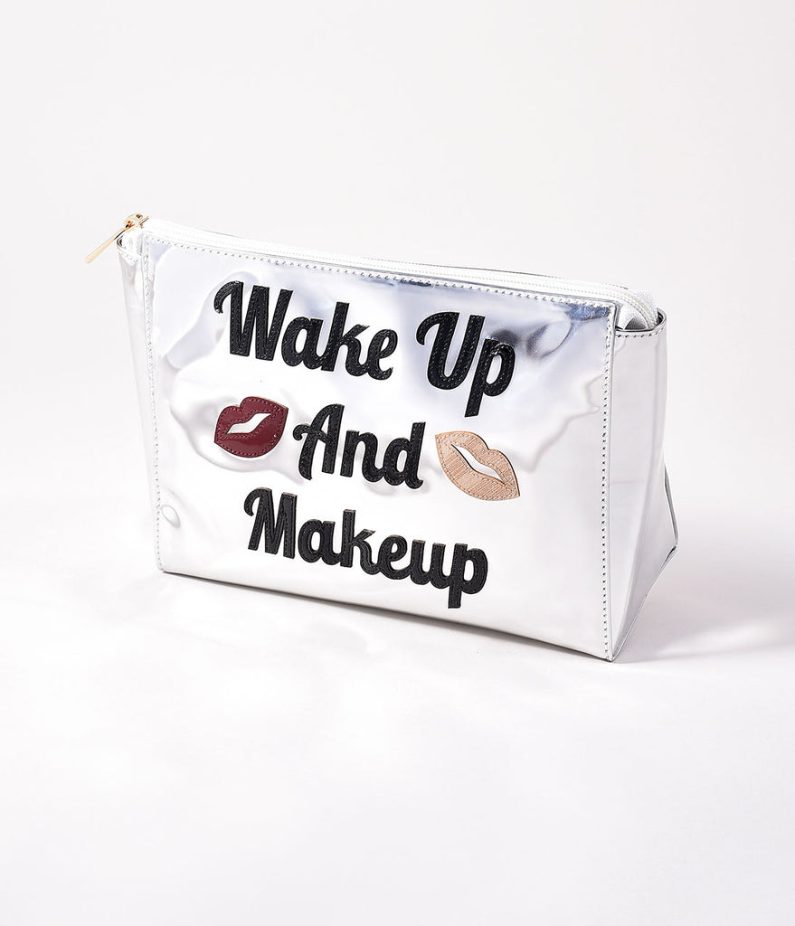 Metallic Silver Wake up And Makeup Small Betty Cosmetic Bag