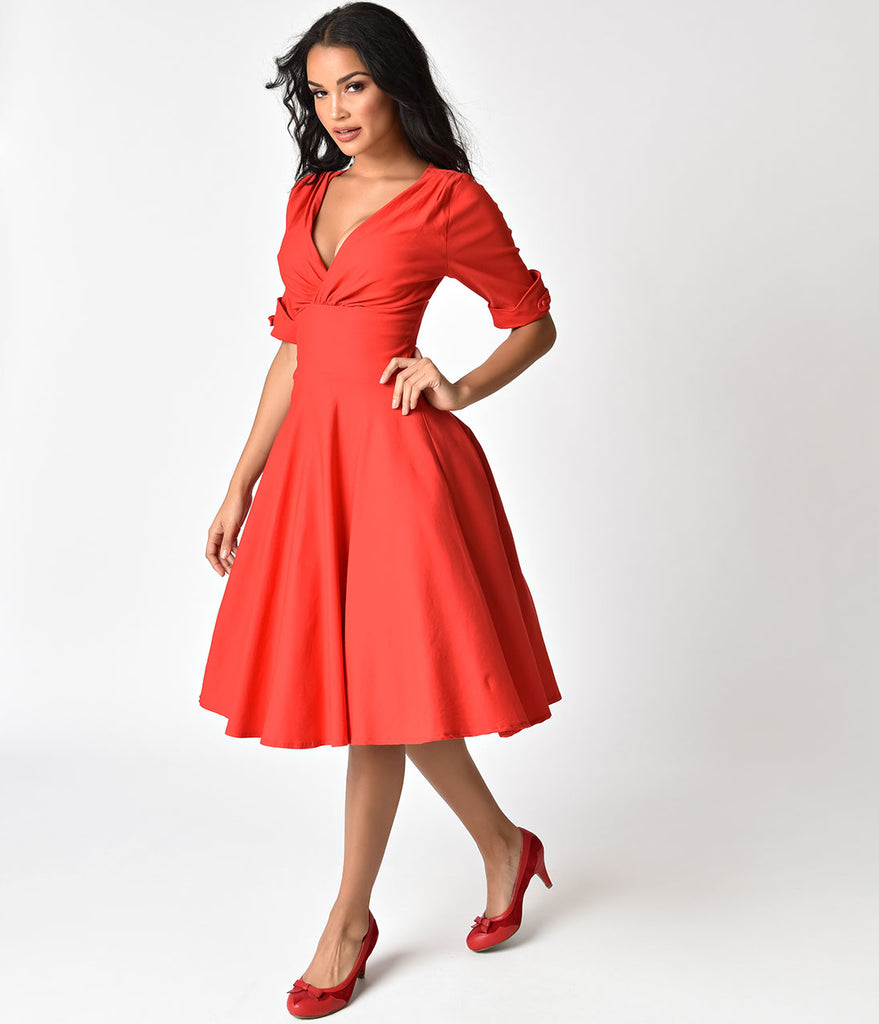 Unique Vintage 1950s Retro Red Delores Swing Dress with Sleeves