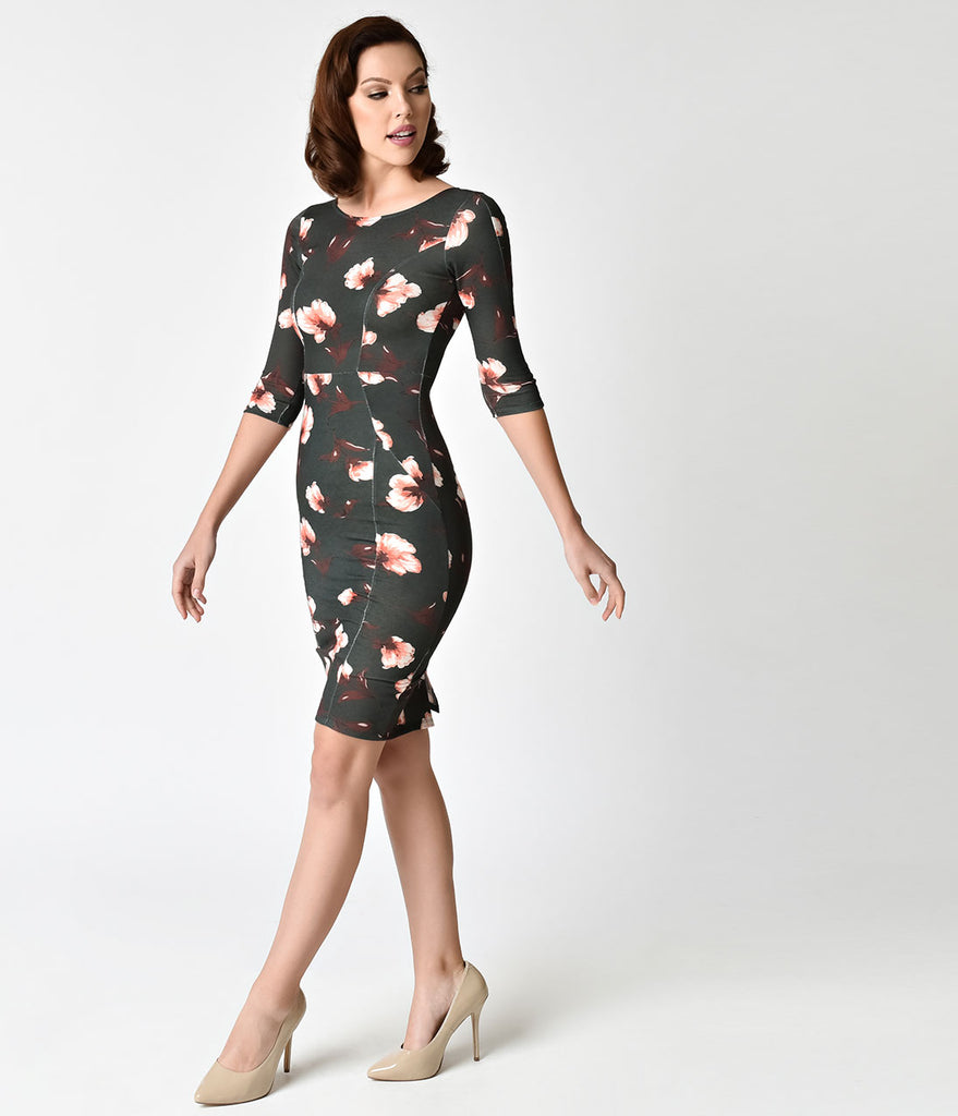 Unique Vintage 1960s Style Hunter Green Floral Long Sleeve Mod Wiggle Dress