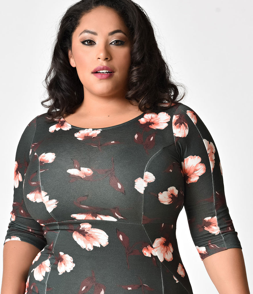 Unique Vintage Plus Size 1960s Style Hunter Green Floral Long Sleeve Mod Wiggle Dress