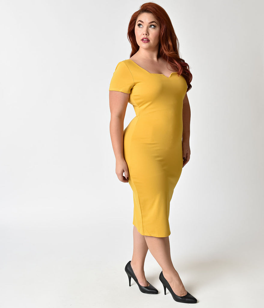 Unique Vintage Plus Size Mustard Yellow Short Sleeve Harris Knit Wiggle Dress