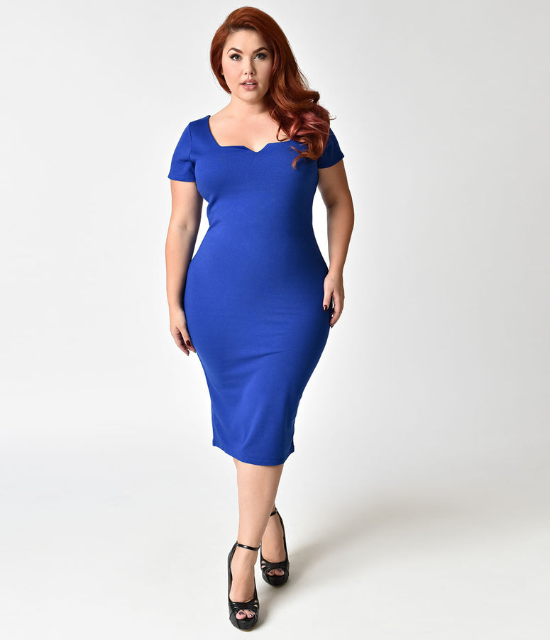 Unique Vintage Plus Size Royal Blue Short Sleeve Harris Knit Wiggle Dress 57fb1df4a