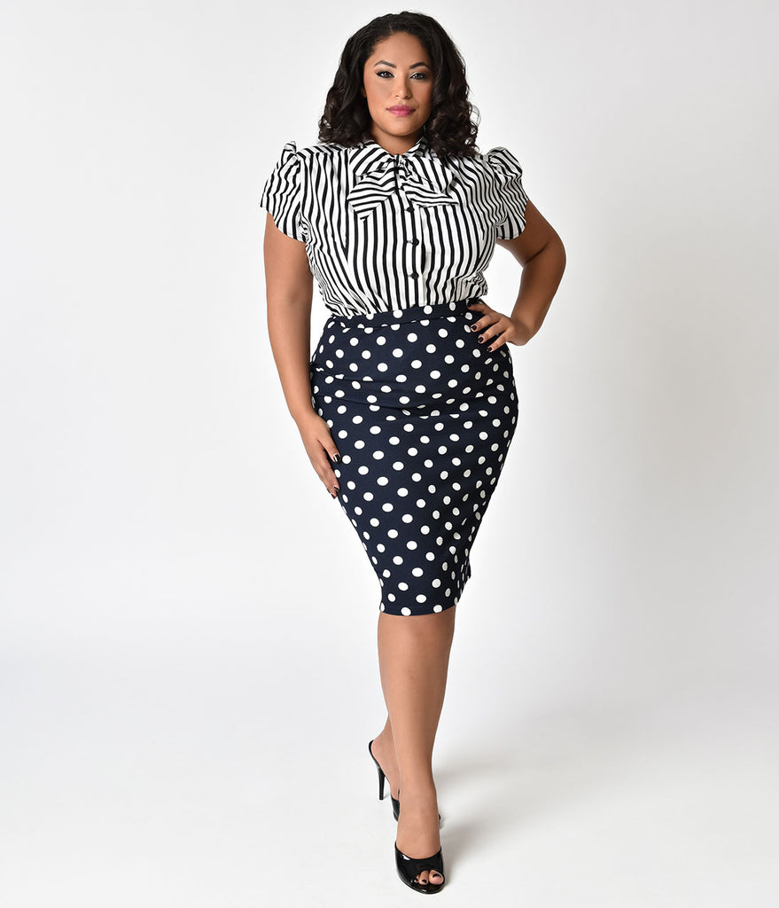 Daily Deal! Vintage Style Plus Size Navy Blue & White Polka Dot High Waist Stretch Pencil Skirt