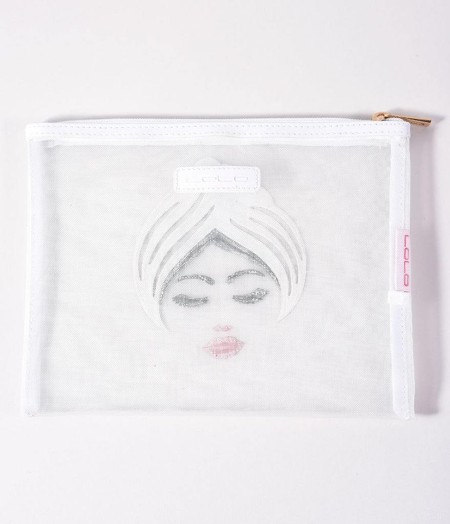 White Mesh Betty Zippered Pouch