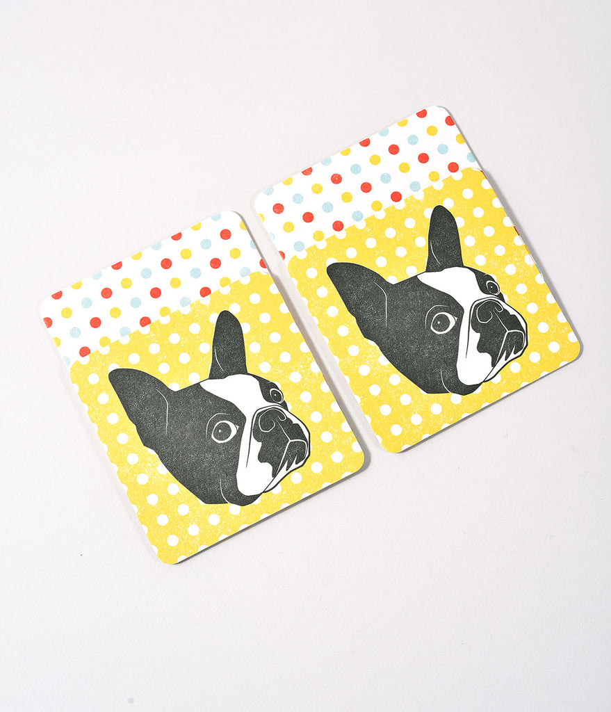 Yellow Dotted & Boston Terrier Coasters Set