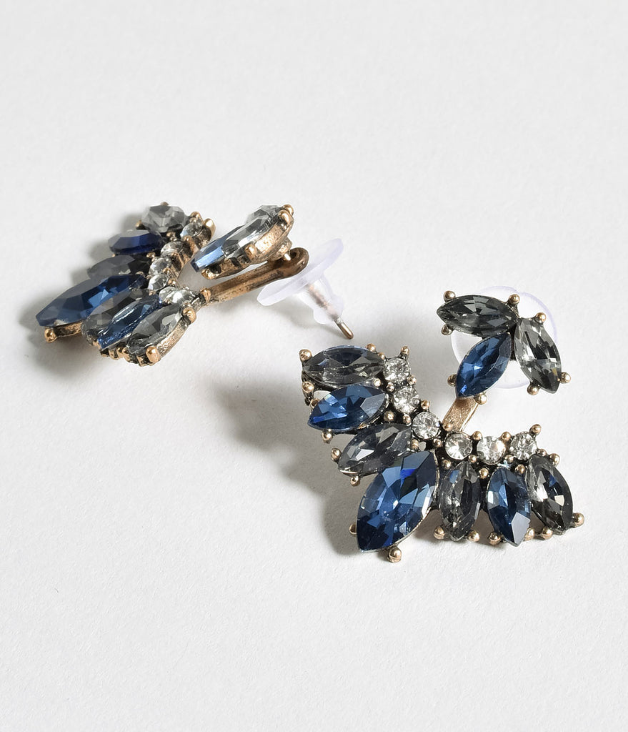 Dark Blue & Silver Gem Rhinestone Fan Drop Earrings