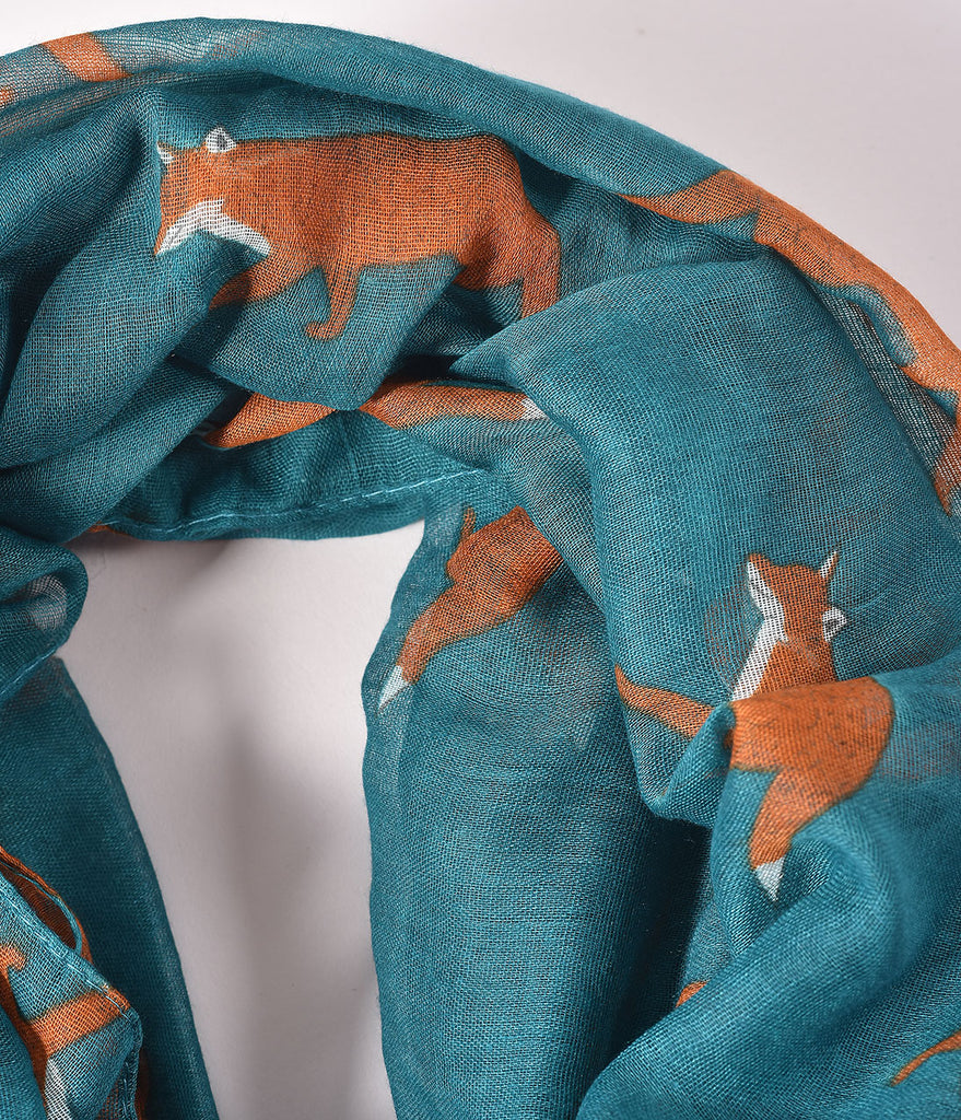 Dark Teal & Orange Fox Print Scarf