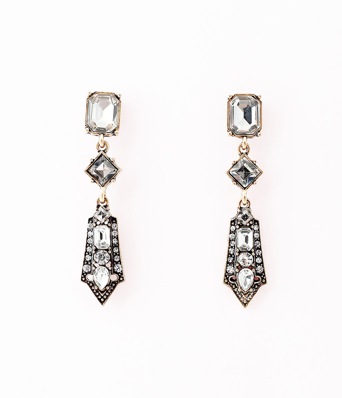 1930s Jewelry | Art Deco Style Jewelry Deco Style Antique Bronze  Silver Crystals Geometric Drop Earrings $22.00 AT vintagedancer.com