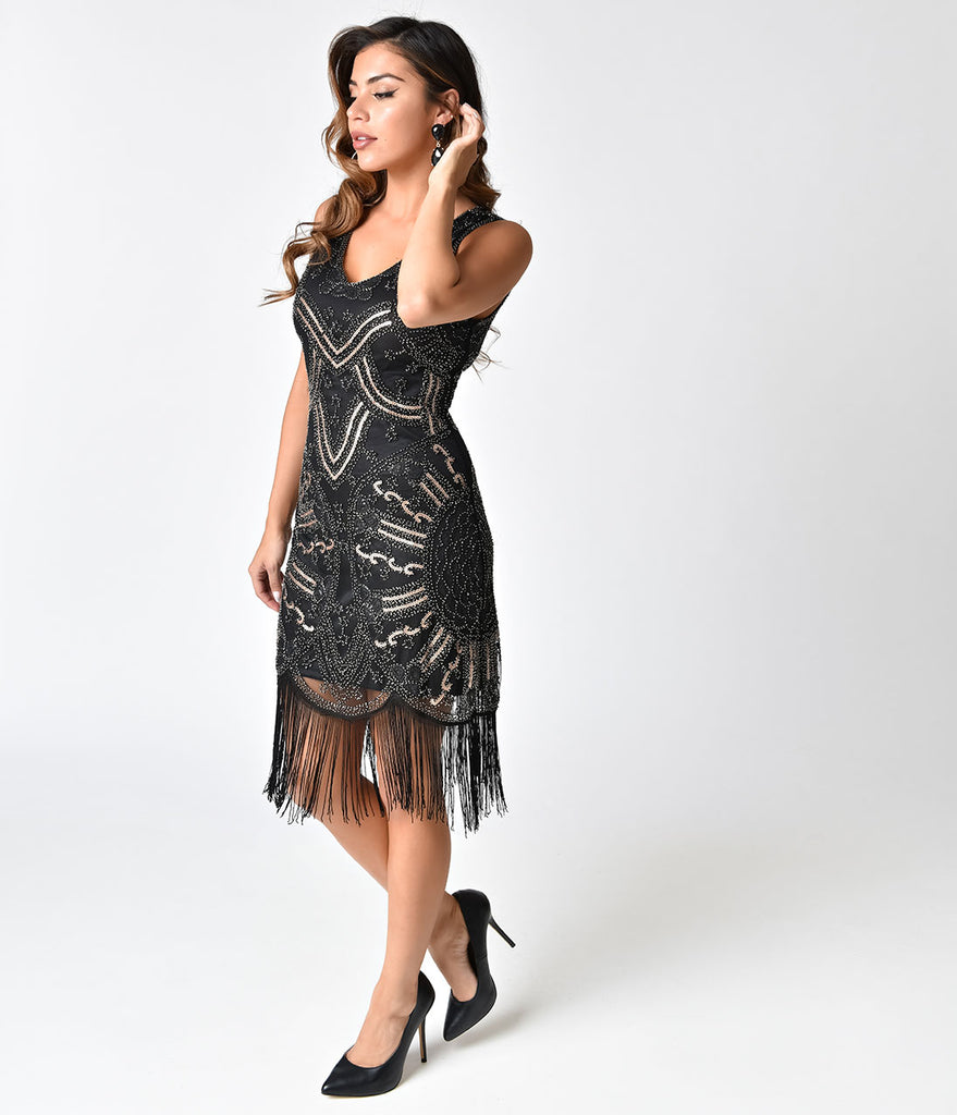 Deco Style Black Beaded & Copper Sequin Fringe Cocktail Dress