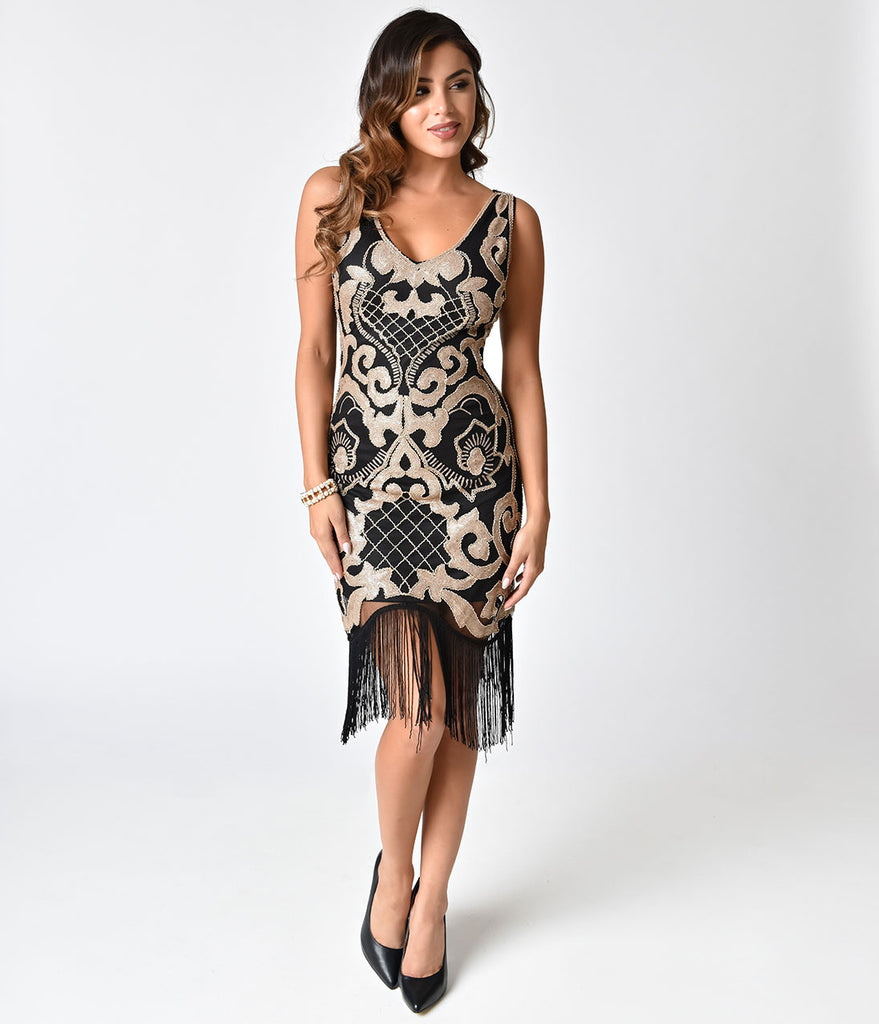 Deco Style Black & Matte Gold Sequin Fringe Cocktail Dress