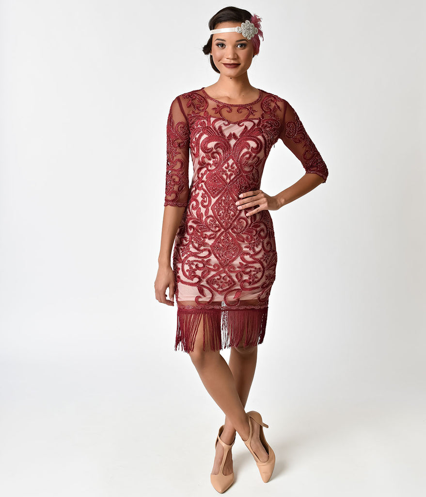 Deco Style Burgundy Red Beaded Half Sleeve Beaded Fringe Dress