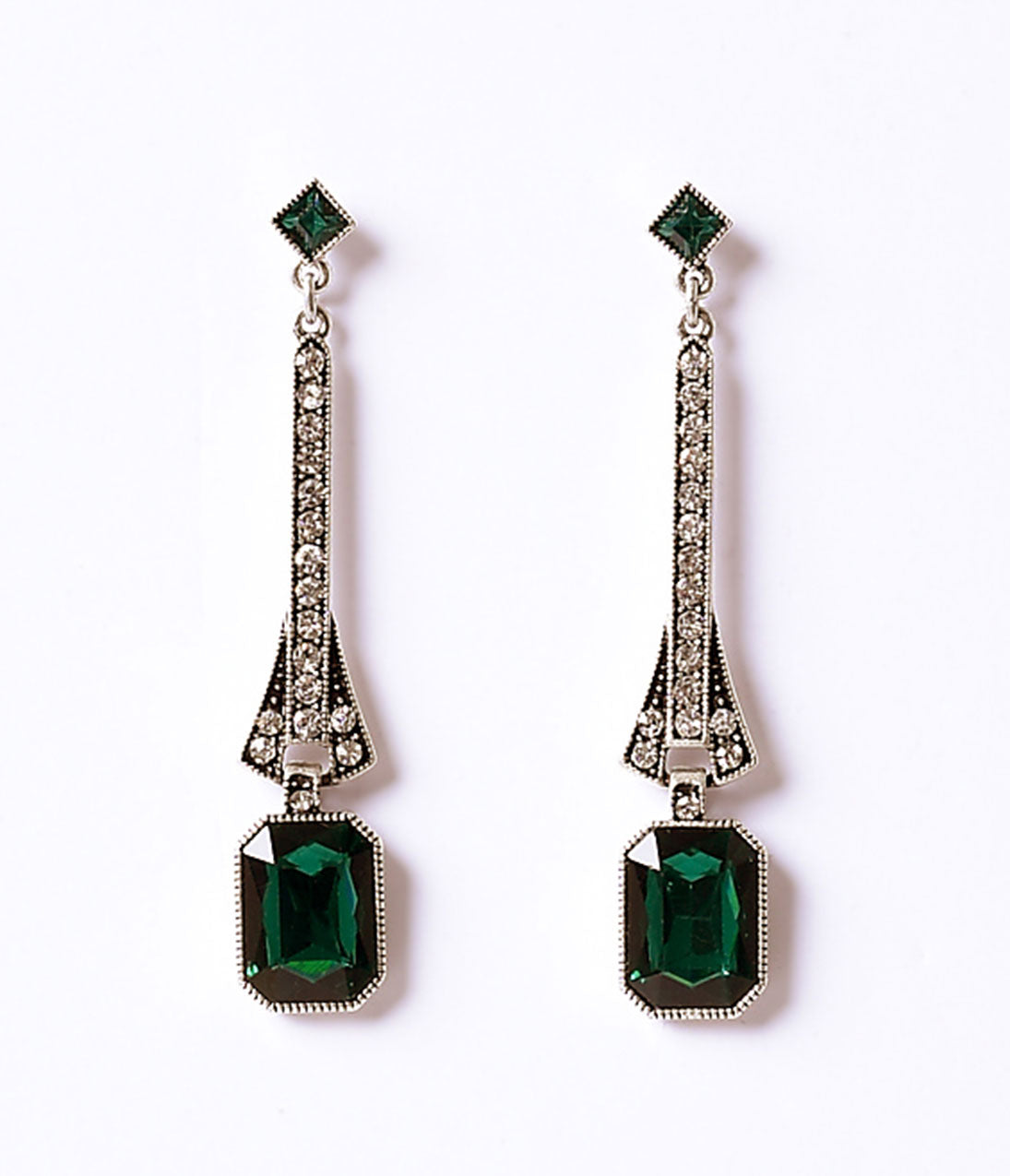 Vintage Style Jewelry, Retro Jewelry Deco Style Emerald  Silver Crystal Drop Post Earrings $28.00 AT vintagedancer.com