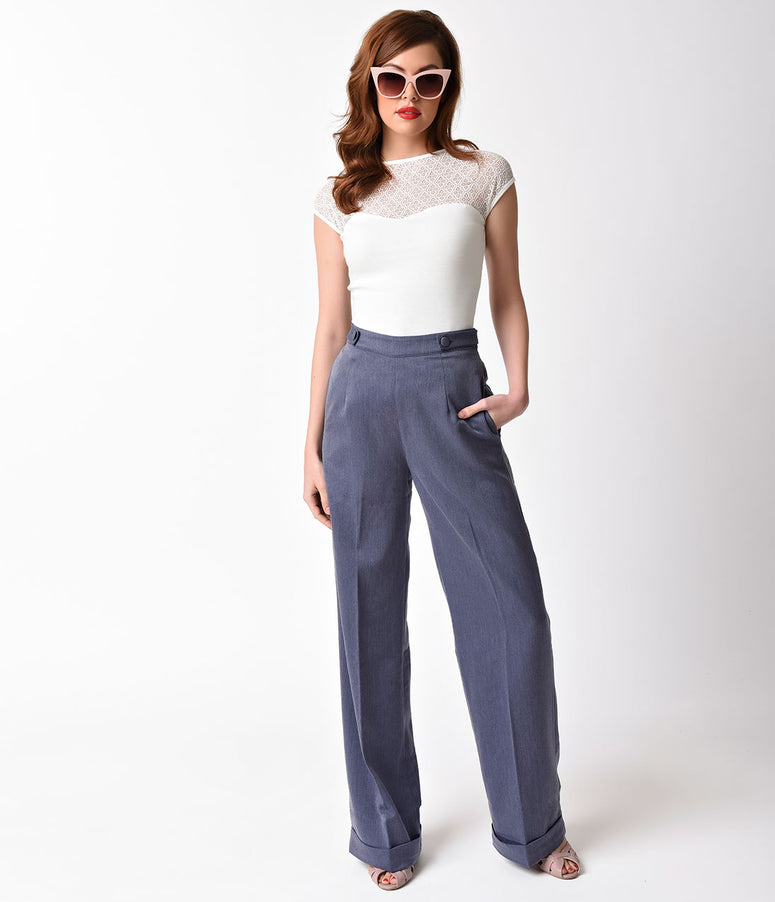 Banned 1940s Silver Denim High Waist Party On Stretch Pants
