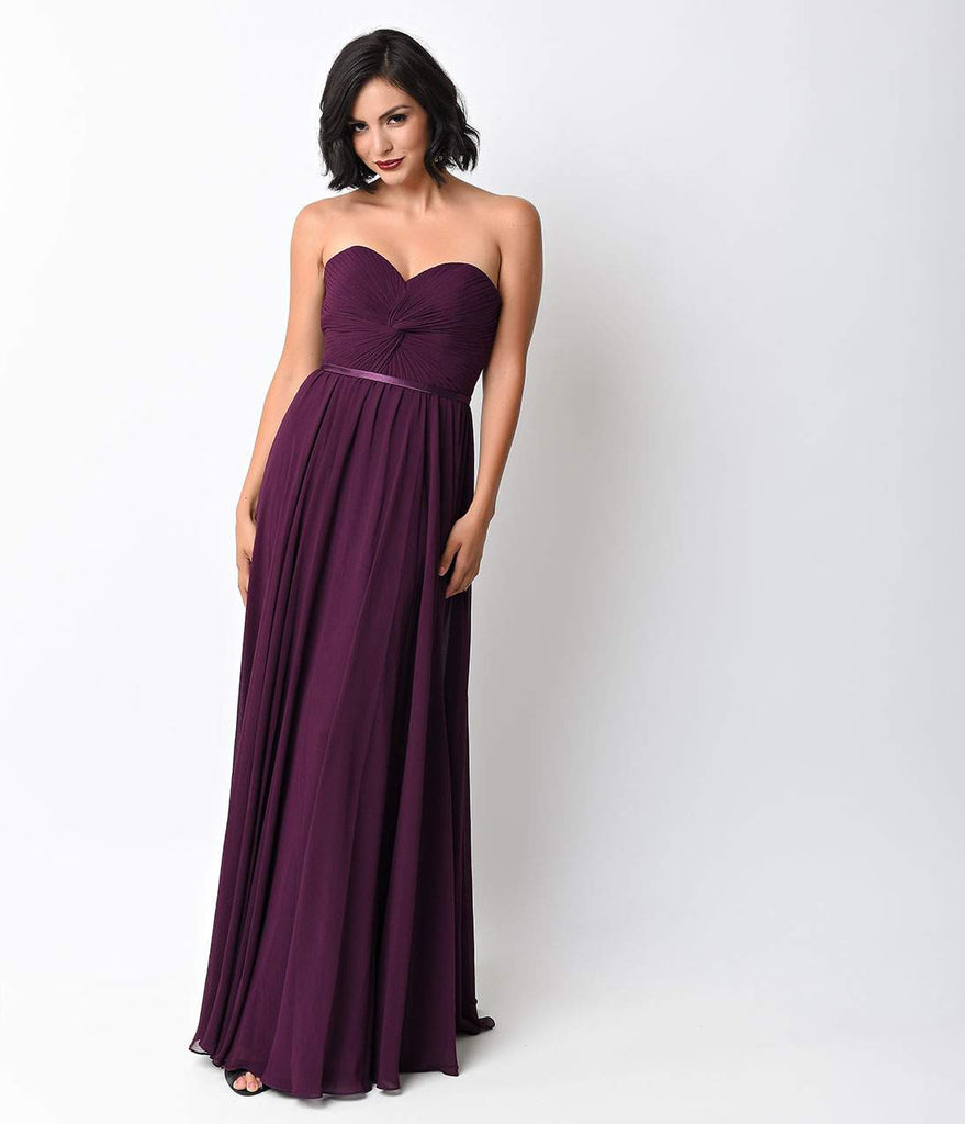 Eggplant Chiffon Strapless Sweetheart Corset Long Gown
