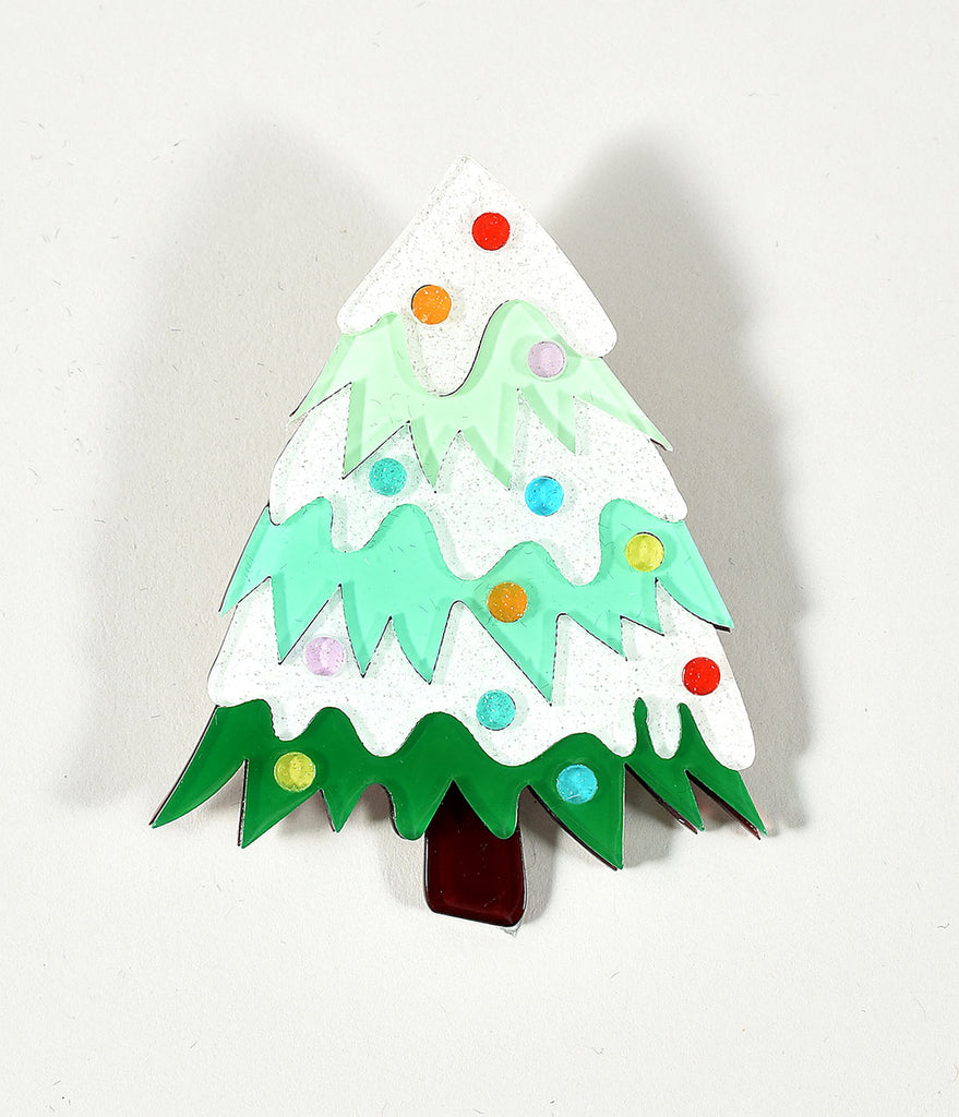 Erstwilder Green & Ivory Christmas Tree To Be Jolly Resin Brooch