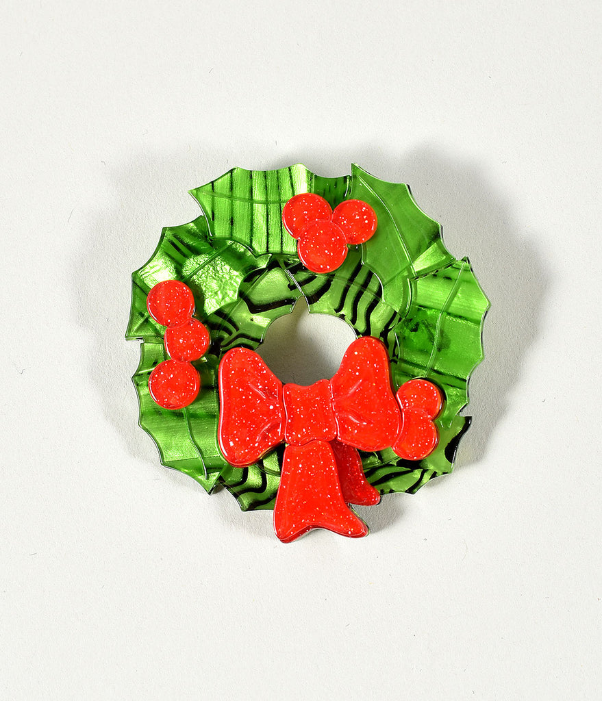 Erstwilder Green Wreath Deck The Halls Resin Brooch Pin