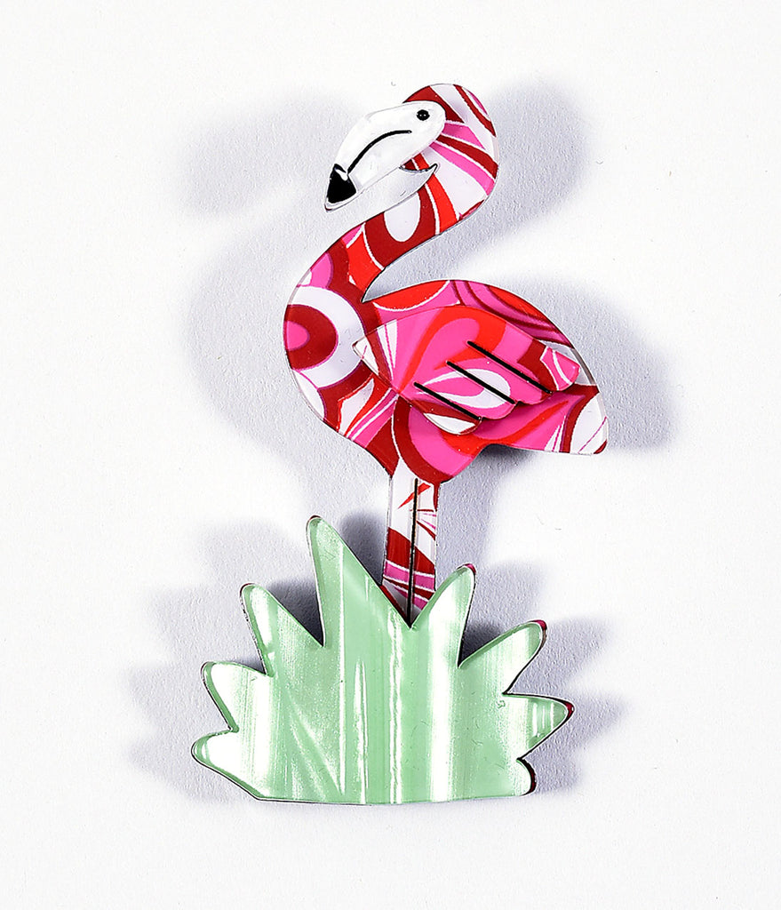Erstwilder Pink & White Patterned Flamboyant Flamingo Funk Resin Brooch