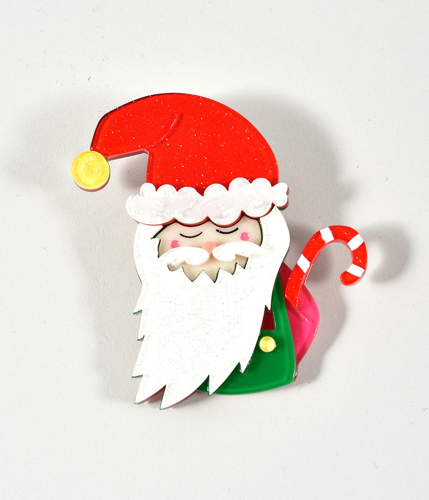 Erstwilder White & Red Saint Nick Resin Brooch