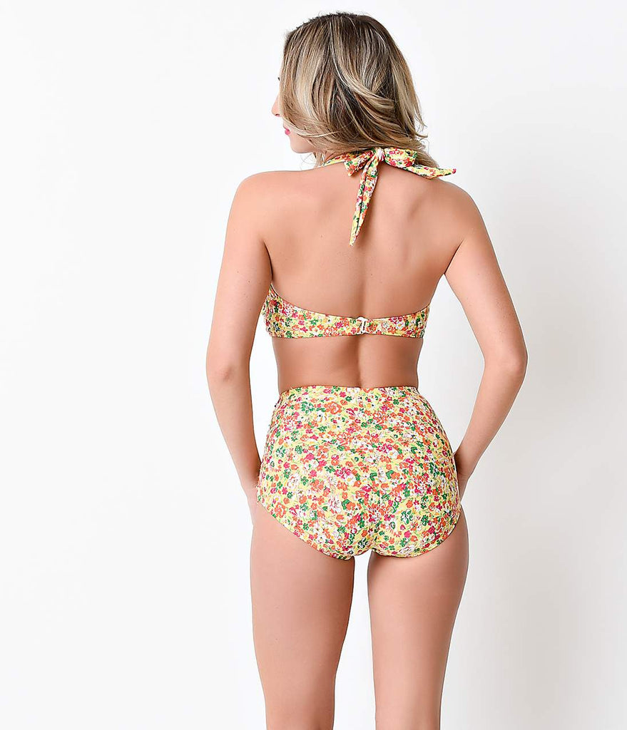 Esther Williams 1950s Pin Up Yellow Floral Delightful Halter Swim Top