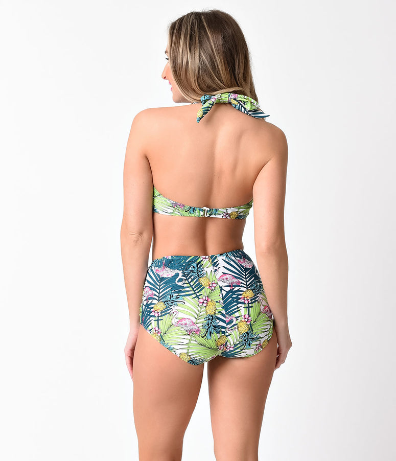 Esther Williams Green Paradiso Halter Swim Top