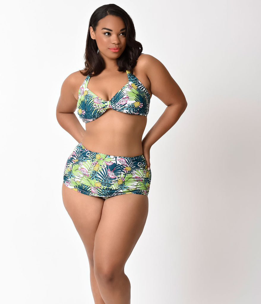 Esther Williams Plus Size Retro Style Green Paradiso Swim Top