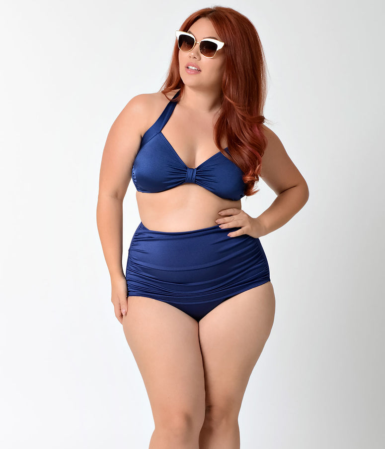 Esther Williams Plus Size Retro Style Navy Blue Halter Swim Top