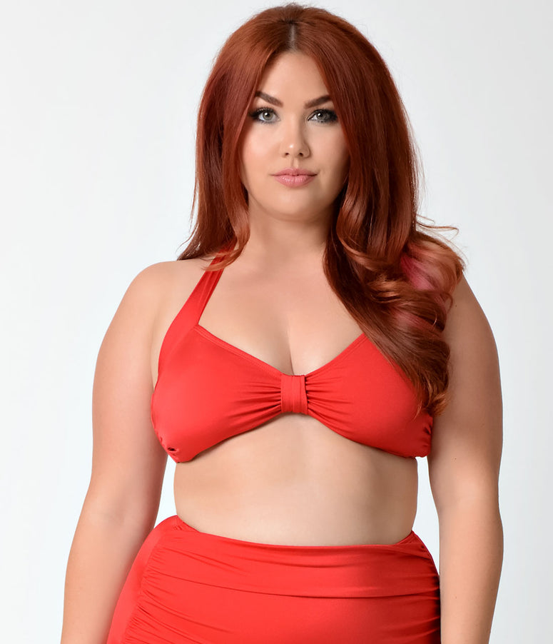 Esther Williams Plus Size Retro Style Solid Red Halter Swim Top