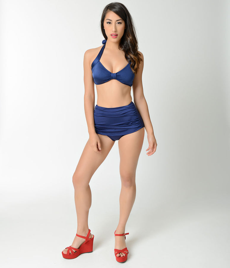 Esther Williams Retro Style Navy Blue High Waist Swim Bottom