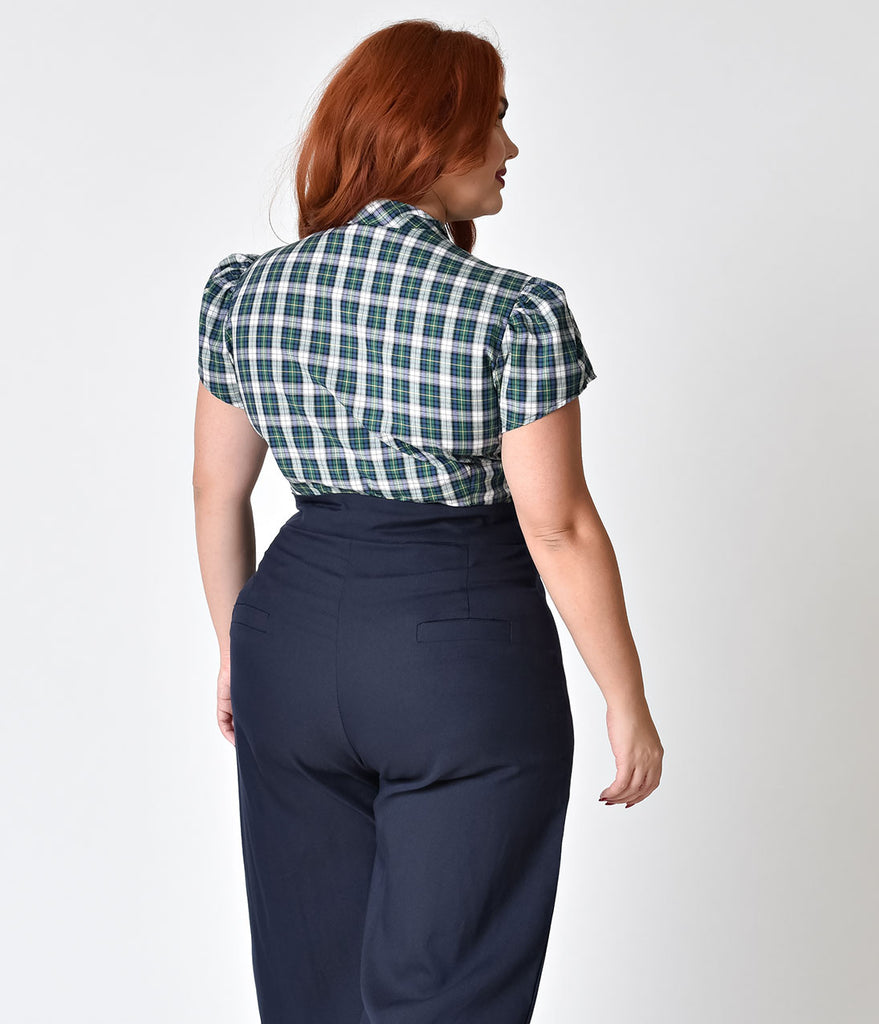 Exclusive Plus Size Retro Style Green Tartan Plaid Cap Sleeve Estelle Blouse