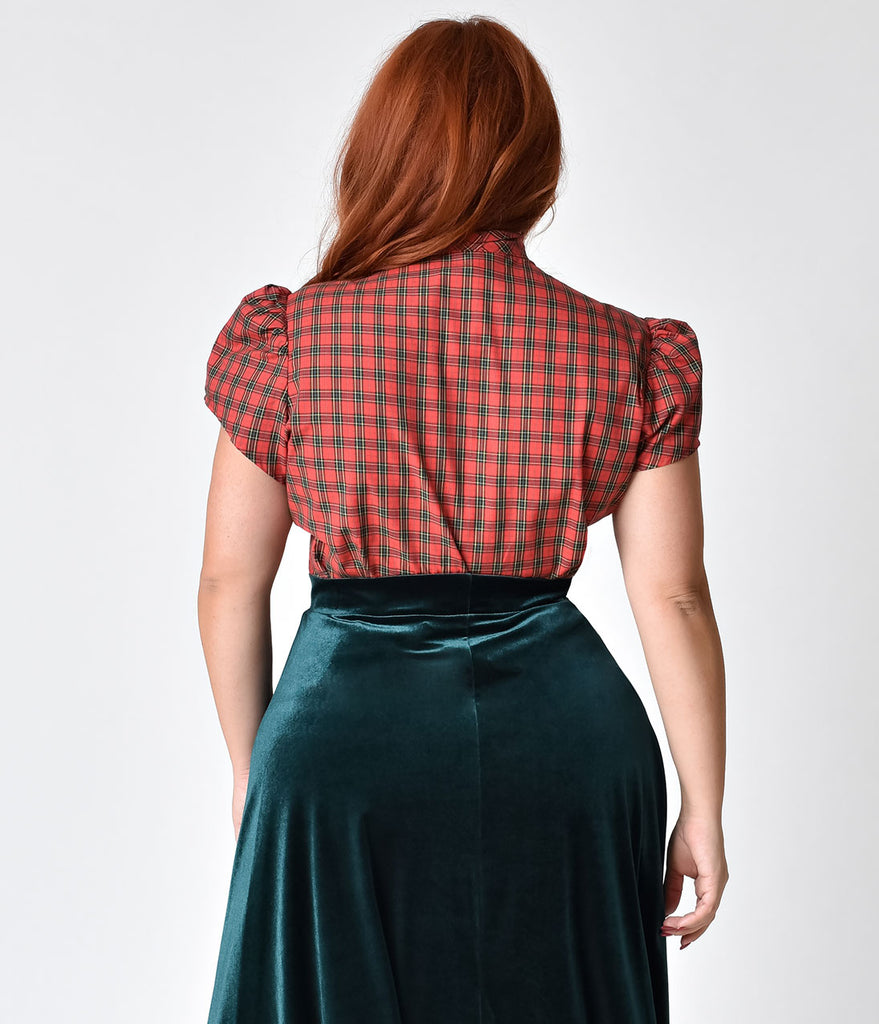 Exclusive Plus Size Retro Style Red Tartan Plaid Cap Sleeve Estelle Blouse