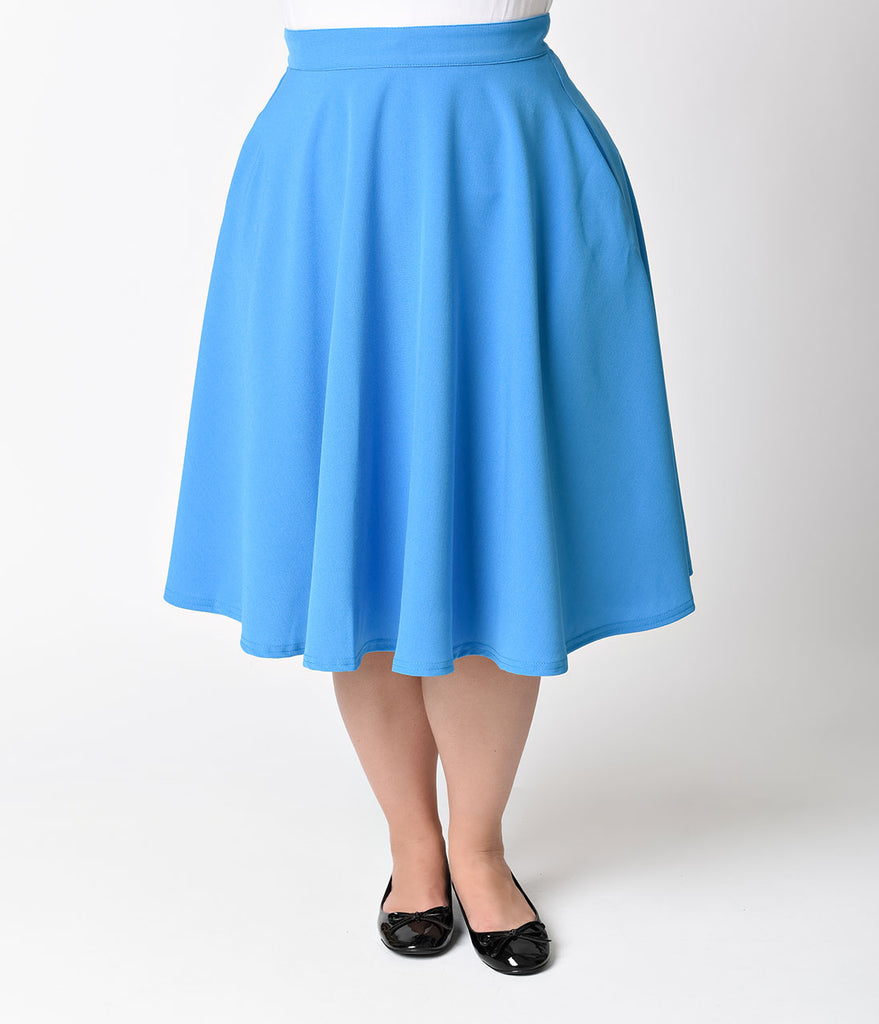 Exclusive Steady Plus Size Turquoise Blue High Waisted Thrills Skirt