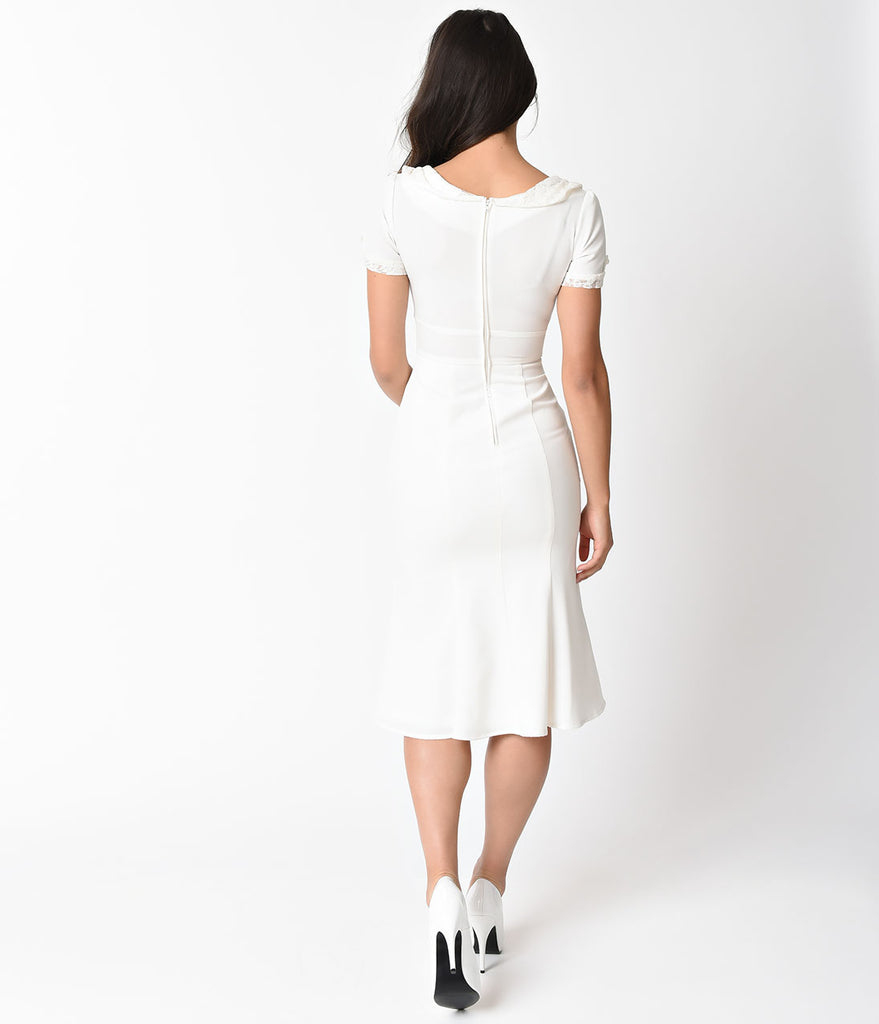 Exclusive Stop Staring! 1930s Ivory & White Lace Cap Sleeve Railene Dress