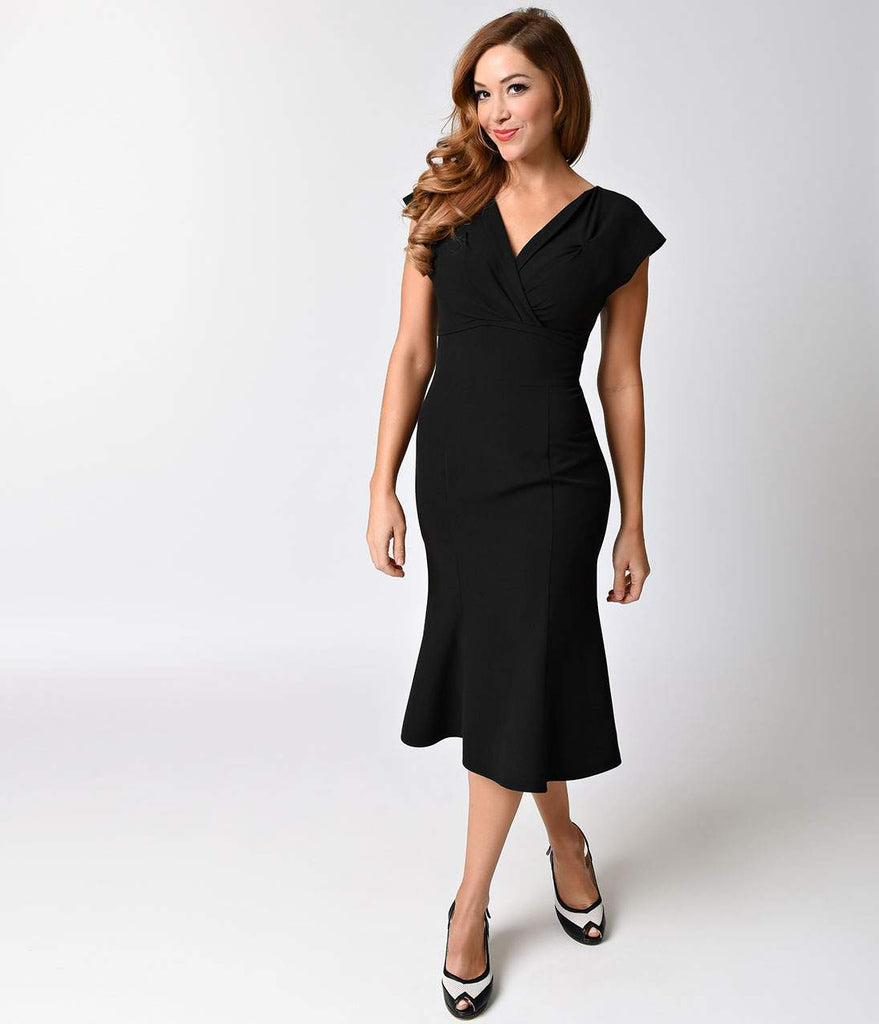 Exclusive Stop Staring! 1940s Black Irenne Fitted A-line Dress