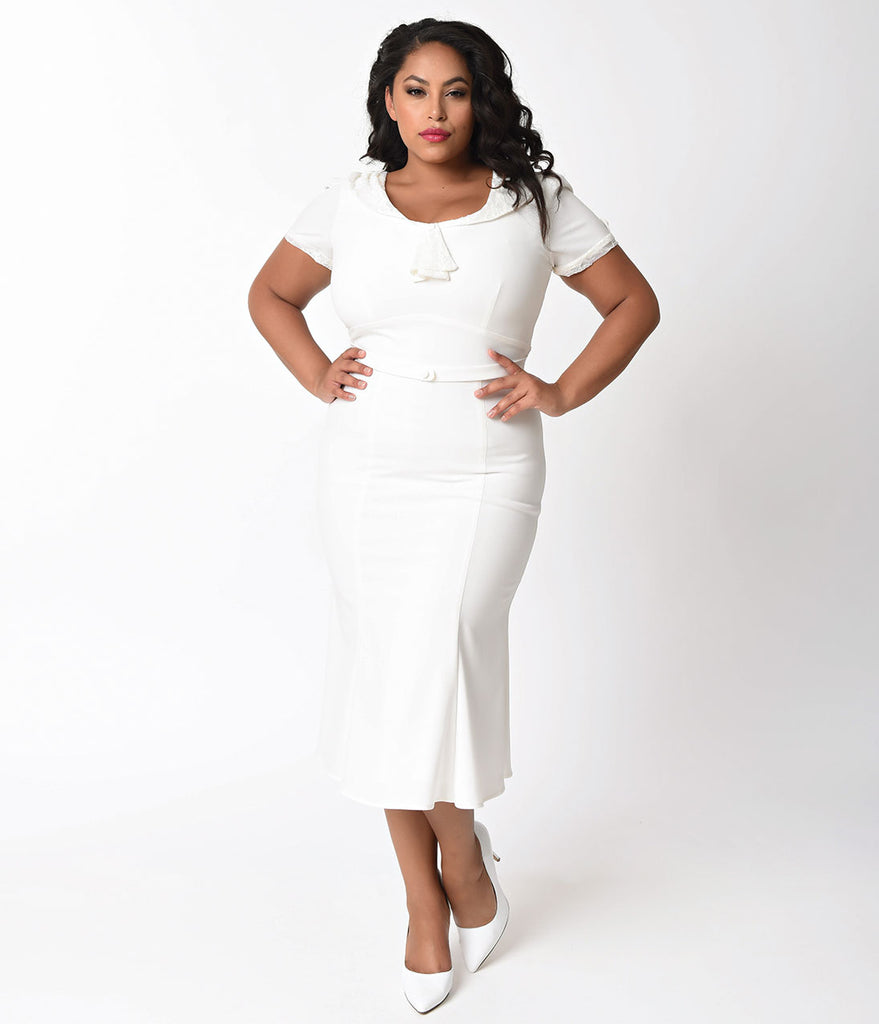 Exclusive Stop Staring! Plus Size 1930s Ivory & White Lace Cap ...