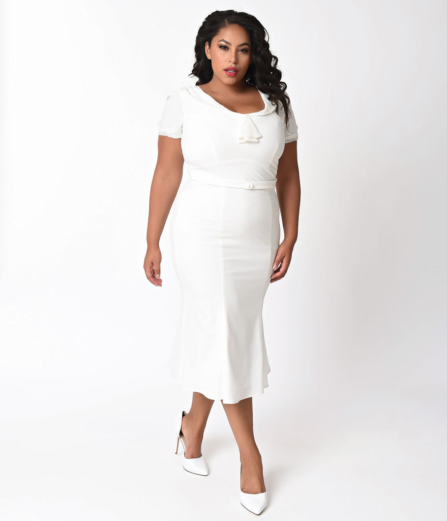 Exclusive Stop Staring! Plus Size 1930s Ivory & White Lace Cap Sleeve Railene Dress
