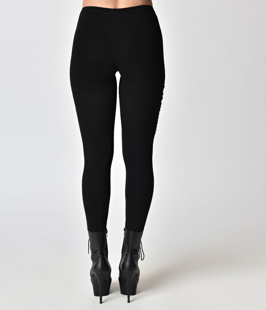 Folter Black Gothic Style Cut Up Cotton Leggings