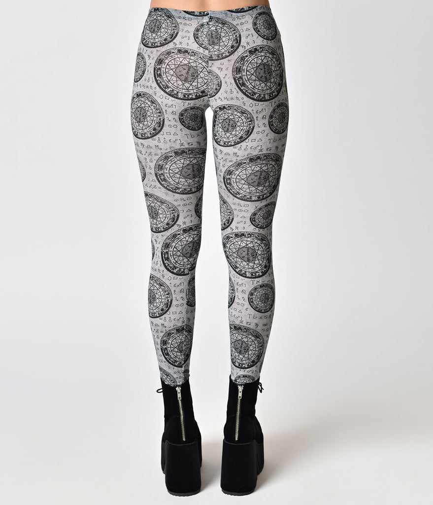 Folter Grey & Black Astrological Wheel Pattern Stretch Leggings