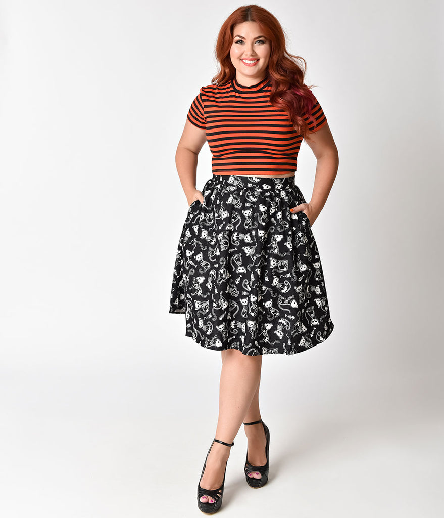 Folter Plus Size Black & White Skeleton Cat Cotton Glowing A-line Skirt