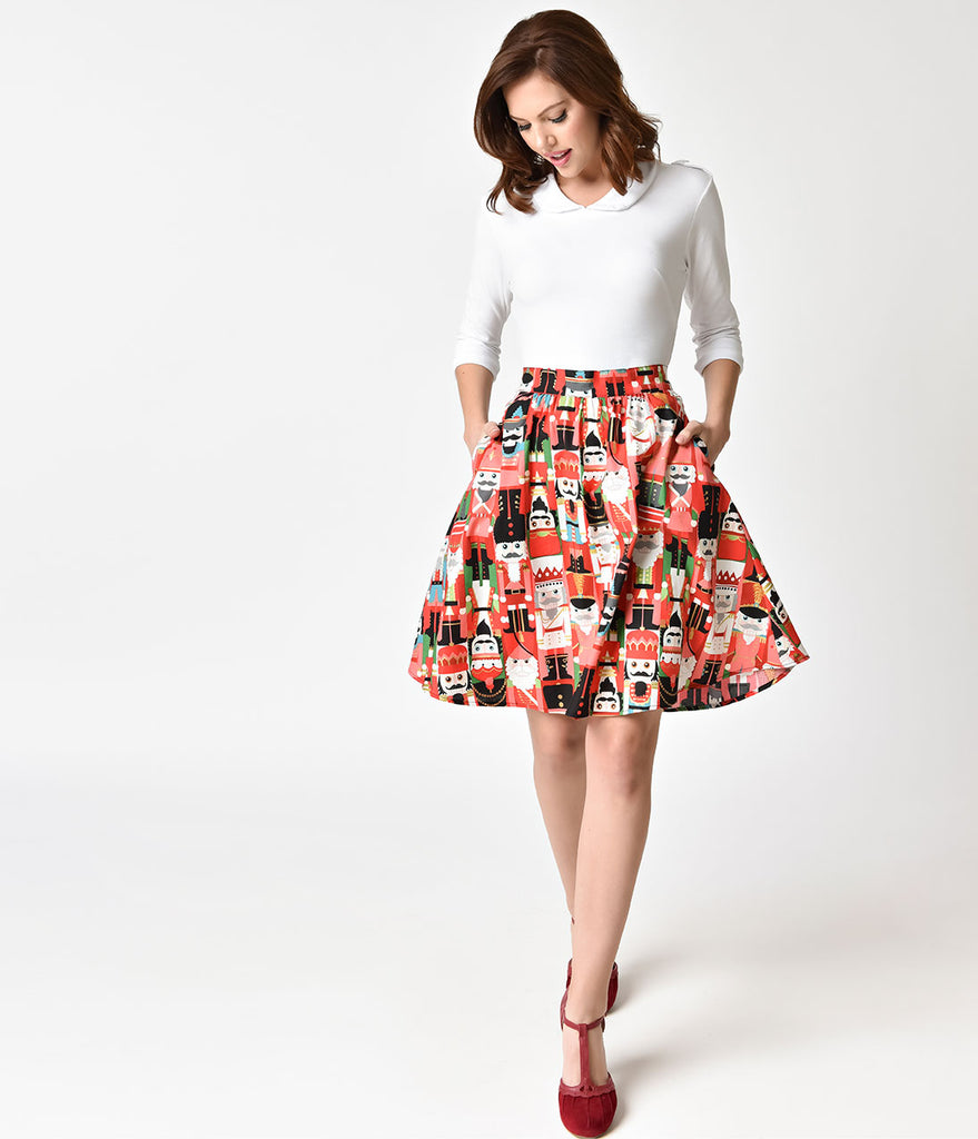Folter Red & Nutcracker Print Holiday Flare Skirt