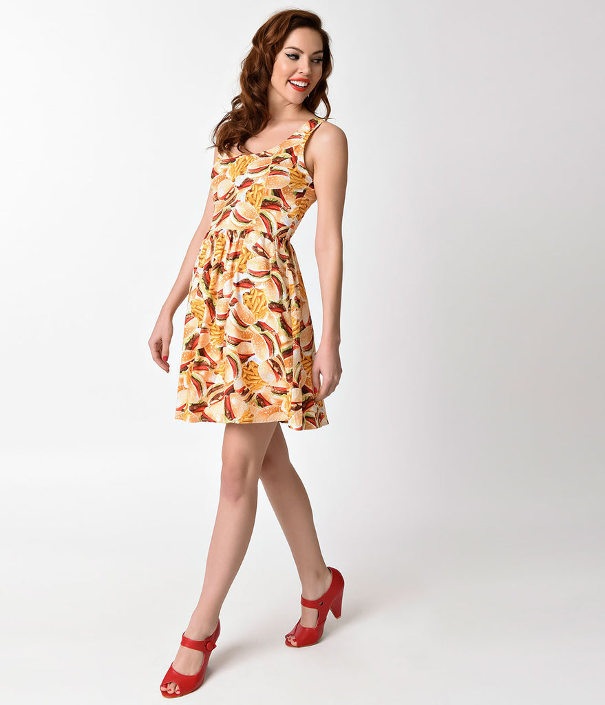 Folter Retro Style Yellow Fast Food Print Sleeveless Flare Dress