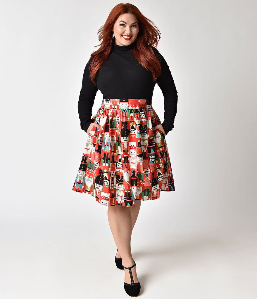 Folter Plus Size Red & Nutcracker Print Holiday Flare Skirt
