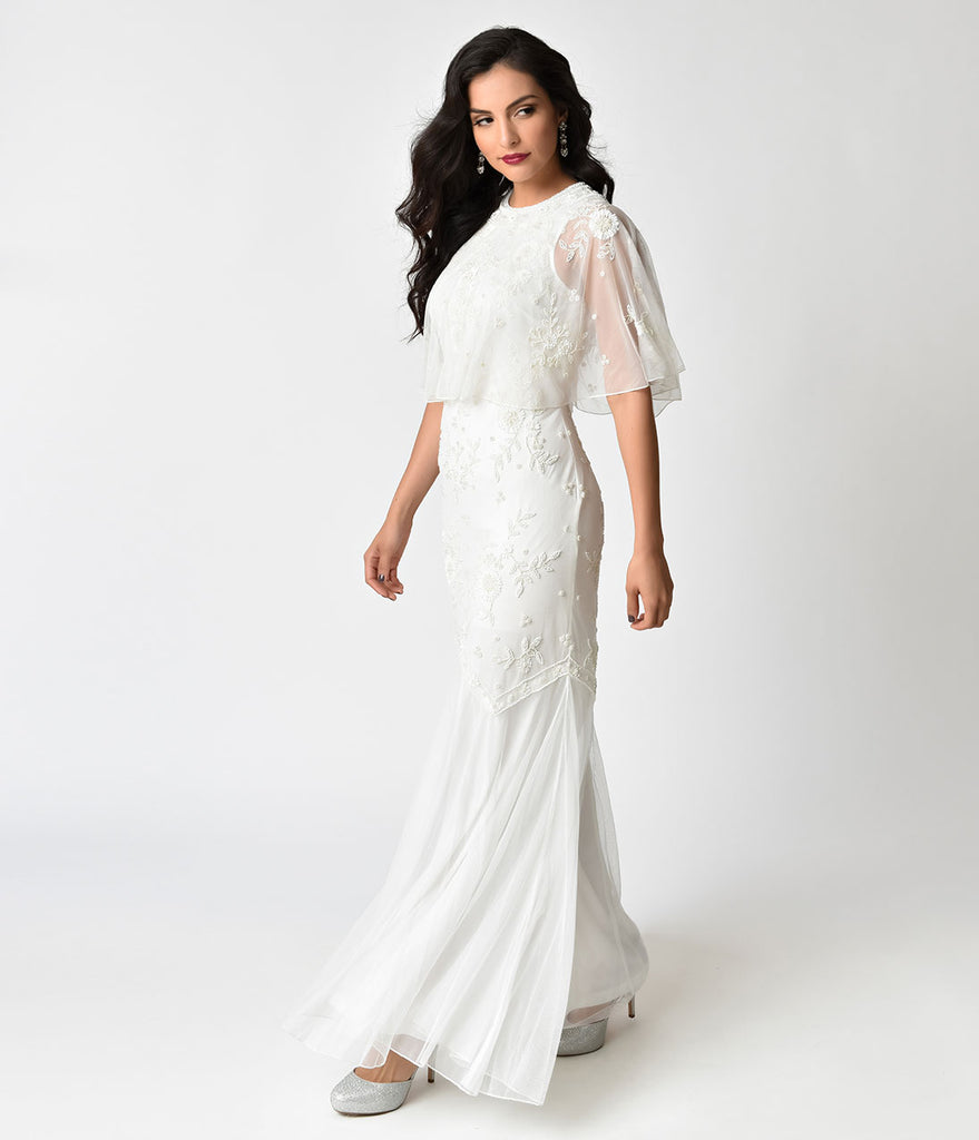 Frock and Frill Ivory Beaded Bia Bridal Cape & Maxi Dress