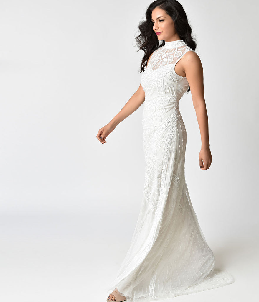 Frock and Frill Ivory Beaded Bibi Bridal Maxi Dress – Unique Vintage