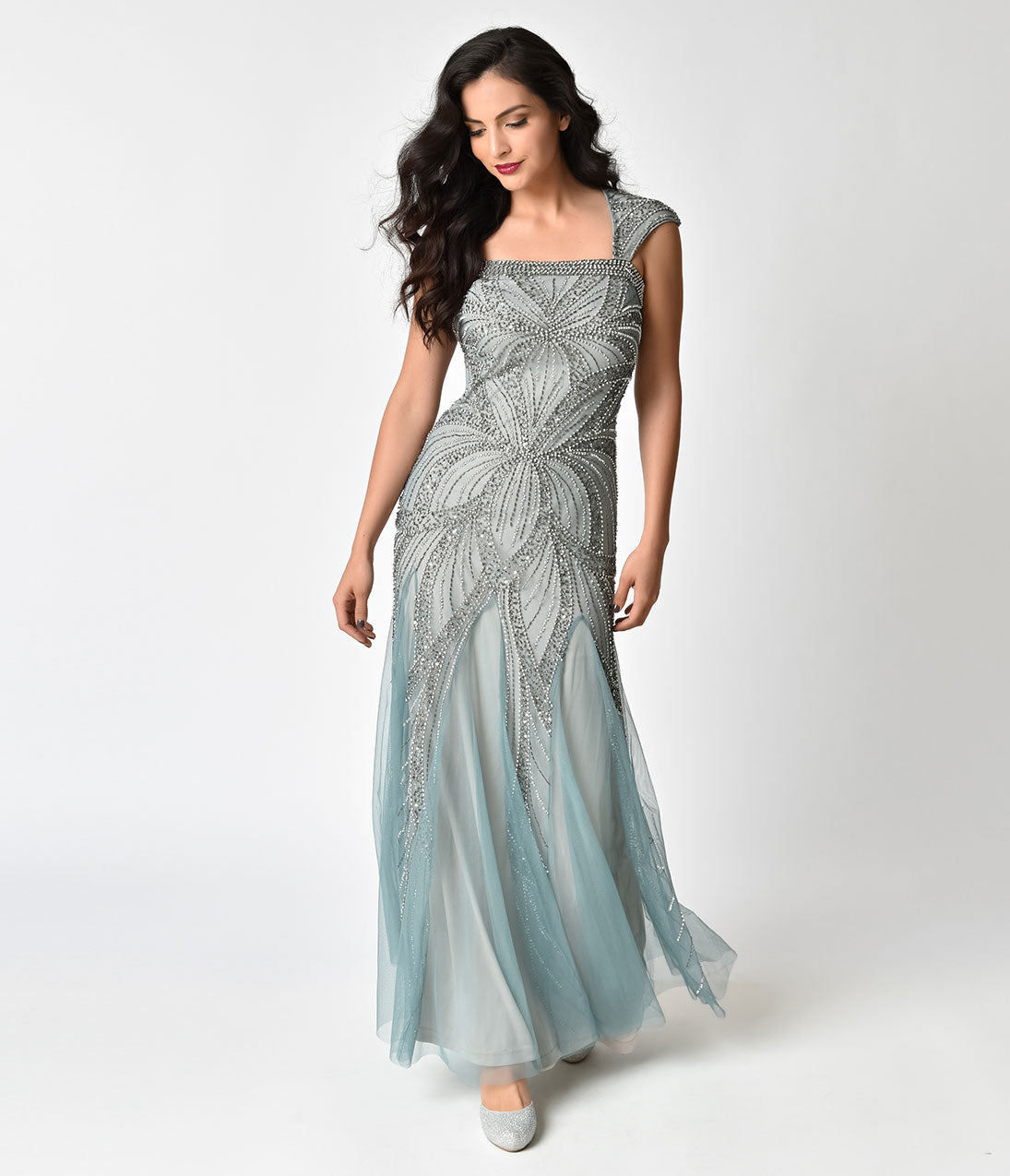 Vintage Evening Dresses Frock and Frill Mint Green  Silver Embellished Bradi Maxi Dress $208.00 AT vintagedancer.com