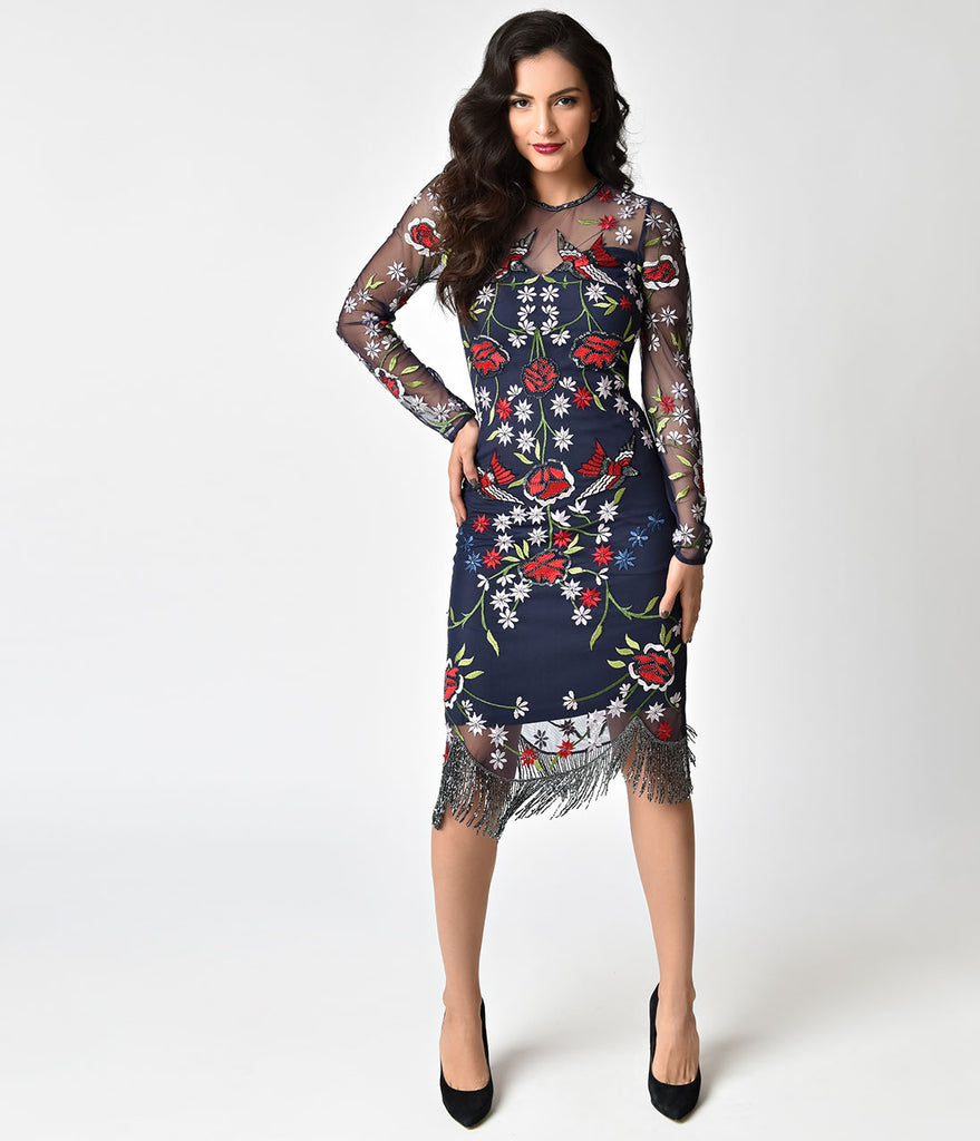 Frock and Frill Navy Blue & Embroidered Sheer Bronte Floral Dress